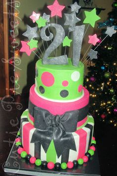 Lime Green & Hot Pink 21st Birthday Cake... Emily Walker!!!
