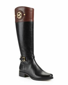 MICHAEL Michael Kors  Stockard Two-Tone Leather Riding Boot. Loving these riding boots, reminds me of a pair of Anne Klein ones I had in college. Thinking these are a MUST HAVE
