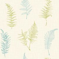 Grandeco Fern Wallpaper - Teal