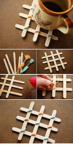 Coasters with sticks for ice cream. With sticks for ice cream, you can do a lot of interesting items.