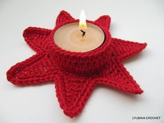 "Ravelry: Candle Holder ""Christmas Red Star"" pattern by Lyubava Crochet"