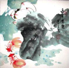 Lotus Flower & Red Fish -Chinese Inkbrush Watercolour Painting Art 13.5inX13.5in