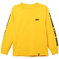 HUF Downhill Tee (46 CAD) ❤ liked on Polyvore featuring tops, t-shirts, sweaters, shirts, jackets, yellow shirts, tee-shirt, huf tee, huf t shirts and t shirt