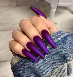 Purple Nail Designs - Blue and Purple Nails - # Nails - nagel - nageldesign Purple Acrylic Nails, Purple Nail Art, Purple Nail Designs, Coffin Nails Matte, Best Acrylic Nails, Dark Nails, Nail Art Designs, Design Art, Design Ideas