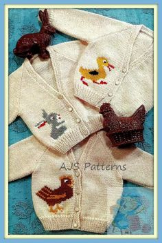 PDF Vintage Knitting Pattern for Baby and Toddlers 3 Motif Cardigans - Chicken,Rabbit & Duckling