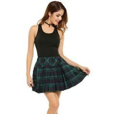 Women High Waisted Plaid School Skirt | cndirect.com