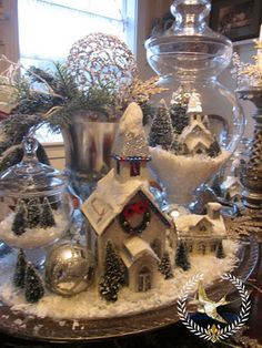 Winter White Christmas Table Scape Jill McCall~ Feathers and Flight Noel Christmas, Christmas Projects, Winter Christmas, Holiday Crafts, Holiday Decor, Christmas Vignette, White Christmas Trees, Christmas Mantles, Christmas Glitter