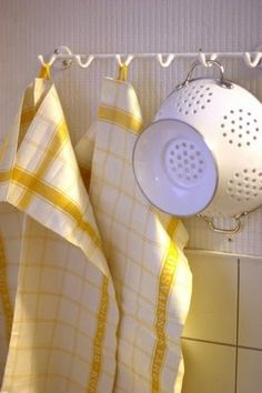 Yellow striped kitchen towels, white enamel colander ~ farm life
