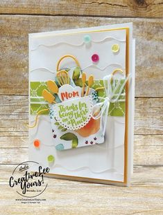 Mom Apron by Wendy Lee, Stampin Up, stamping, handmade card, friend, mothers day, birthday, #creativeleeyours, creatively yours, creative-lee yours, April 2018 FMN card class, forget me not, apron of love stamp set, SU, SU cards, rubber stamps,Paper-Garden challenge