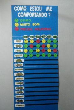 Mural do comportamento medindo: 60 cm de largura x 160 cm de comprimento. medida das caretinhas 5cm x 5cm 16 plaquinhas personalizadas com o nome, 6 plaquinhas dias da semana, 80 caretinhas verdes, 80 caretinhas amarelas e 50 caretinhas vermelhas. podem ser feitas alterações na quantidade. Classroom Labels, Classroom Decor, Diy And Crafts, Crafts For Kids, Kindergarten, Preschool Crafts, Educational Toys, Classroom Management, Professor