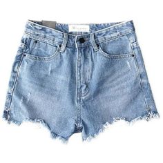 Chicnova Fashion High Waisted Denim Shorts (1.370 RUB) ❤ liked on Polyvore featuring shorts, bottoms, high-waisted shorts, zipper shorts, high rise jean shorts, high-rise shorts and denim shorts