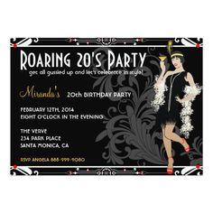 Roaring 20's Flapper Girl Retro Invitations