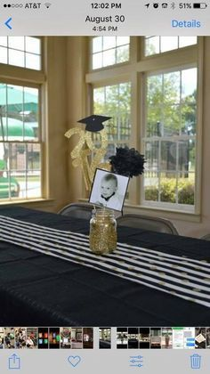 Graduation party centerpiece Source by michelelahmann. Graduation Party Planning, College Graduation Parties, Graduation Diy, Graduation Table Centerpieces, Graduation Decorations, Graduation Open Houses, Senior Year, Party Ideas, Trunk Party