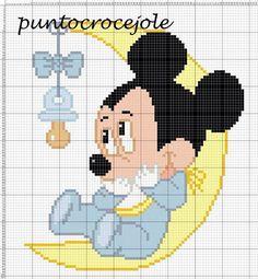 Cross Stitch Baby, Cross Stitch Charts, Cross Stitch Designs, Cross Stitch Patterns, Baby Mickey Mouse, Mickey Mouse And Friends, Cross Stitching, Cross Stitch Embroidery, Baby Motiv