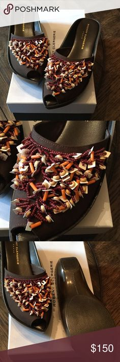 Robert Clergerie embellished mule Robert Clergerie brown fabric embellished mule.  Never worn!  Great with a caftan!  Perfect summer shoe! Robert Clergerie Shoes Mules & Clogs
