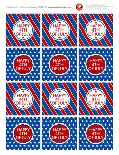APPLE EYE BABY SHOP | Let's Celebrate this 4TH OF JULY!  FREE PRINTABLE CUPCAKE TOPPERS | Red, Blue, White, Satrs, Polka Dots. Endless inspiration: DIY Crafts, Paper Goods, Silhouette or Cricut Projects, Treat/Dessert Tag, Country Style, Candy Table Bar & more... Enjoy!
