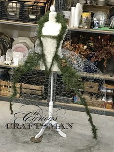 """Mademoiselle Marie An""""tree""""nette is filling in nicely! My newest project dress form Christmas Tree! Mannequin Christmas Tree, Dress Form Christmas Tree, Xmas Tree, Christmas Holidays, Christmas Wreaths, Gold Christmas, Chicken Wire Art, Christmas Tree Inspiration, Arte Floral"""