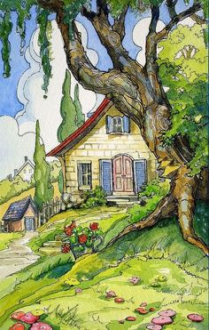 Ideas For House Illustration Art Storybook Cottage Watercolor Landscape, Landscape Paintings, Watercolor Paintings, Farm Paintings, Landscape Art, Watercolors, Storybook Cottage, Cottage Art, Cottage Ideas