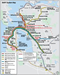 A Map of San Franciscos Bay Area Rapid Transit System Designed in