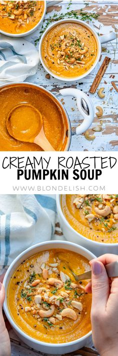 This easy creamy pumpkin soup recipe is one of the best fall recipes ever. I made it with roasted pumpkin and it came out super tasty and flavorful, and believe it or not, it's vegan.