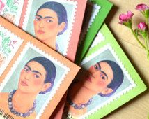 Frida Kahlo Stationery Stamped Card Set; Day of the Dead Greeting Gift; Frida Kahlo Quote Cards