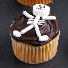 Create a candy skeleton using a large candy mint for the head, licorice pastels for arms and legs, small mints for the feet and white sprinkles for the ribs. Decorate the face with small dabs of icing.