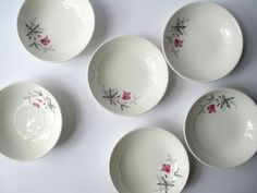 Vintage Fuschia Gray Floral Dessert Bowls Set of by thechinagirl
