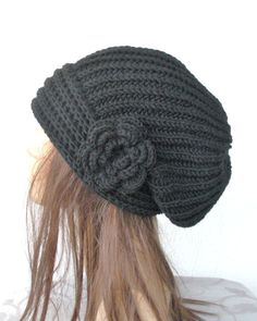 Hand Knit Hat Womens hat chunky knit Slouchy Black by Ebruk, $35.00