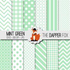 Mint Green Digital Paper Pack - INSTANT DOWNLOAD - 12x12 - chevron, stripes, dots, quatrefoil on Etsy, $3.00