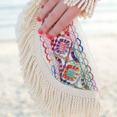 Boho Wristlet Clutch with Fringe & Multicolor Embroidery - The Ibiza Wristlet!