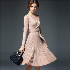 Long Sleeve V-neck Brief Solidy Knitting Knee-length Casual Dress - Uniqistic.com