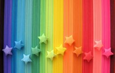Items similar to 500 Origami Stars Paper Strips, Rainbow Multicolor Lucky Stars on Etsy - Love Rainbow, Taste The Rainbow, Rainbow Art, Over The Rainbow, Rainbow Colors, Rainbow Things, Rainbow Paper, Rainbow Sweets, Rainbow Stuff