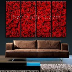 """Extra Large Mural Feng Shui Abstract Floral Painting Rose Flowers HD Print Art, Oversized Rose Flower Wall Art, Living Room, Free Speech Red. Extra Large Mural Feng Shui Abstract Floral Painting Rose Flowers HD Print Art Subject : Rose Flower Style : Modern Panels : 4 Detail Size : 24""""x60""""x4 Overall Size : 99""""x60"""" = 251cm x 152cm Medium : Giclee Print On Canvas Condition : Brand New Frames : Gallery wrapped Availability: *Important: This is a very large size wall art, and we are not able…"""