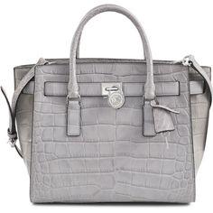 Michael Kors Hamilton Traveler LG 18K Bag ($420) ❤ liked on Polyvore featuring bags, handbags, shoulder bags, purses, michael kors, michael kors handbags, leather handbags, gray leather handbags, gray leather purse and hand bags