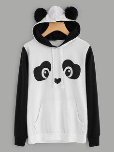 Shop Panda Hoodie With Faux Fur Ball online. SheIn offers Panda Hoodie With Faux Fur Ball & more to fit your fashionable needs. Hoodie Sweatshirts, Printed Sweatshirts, Mode Grunge, Kawaii Clothes, Pulls, Romwe, Cute Outfits, Fashion Outfits, Women's Fashion