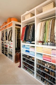 Walk-in Closet: It'd be interesting to use shelves and inserts to put this along the walls in your room. Essentially sleeping in a massive closet!