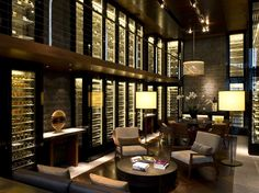 "Wine and cigar library at ""The Chedi"" Andermatt Hotel, in Switzerland: a real dream wine cellar #interiordesign - More wonders at www.francescocatalano.it"