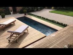 Discover this photo report of a swimming pool equipped with a Rolling-Deck® push-sliding wooden terrace in a side opening module. Small Swimming Pools, Small Pools, Swimming Pools Backyard, Pool Decks, Pool Spa, Backyard Pool Designs, Small Backyard Pools, Backyard Landscaping, Piscina Interior
