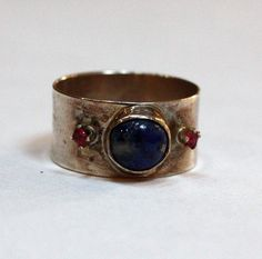 Lapis & Rubies Silver Ring  by Sheri Jurnecka :: http://www.moderneden.com/collections/all-collections/products/lapis-rubies-silver-ring