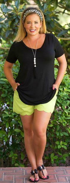 Sunset Celebration Scallop Short - Kiwi***FINAL SALE*** - Perfectly Priscilla Boutique