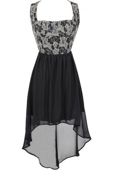 Glittered Lace Black Bustier High Low Dress www.lilyboutique.com
