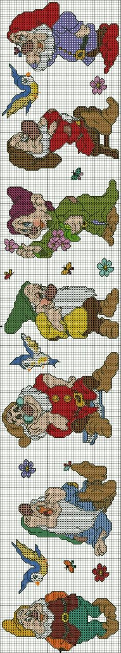 The seven dwarfs saved from ergoxeiro.ru motivi per punto a croce, Disney Cross Stitch Patterns, Cross Stitch For Kids, Cross Stitch Baby, Cross Stitch Designs, Cross Stitch Charts, Cross Stitching, Cross Stitch Embroidery, Embroidery Patterns, Bordado Tipo Chicken Scratch