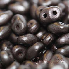 Superduos  Pastel Dark Brown  2536 glass beads by CzechLaVie
