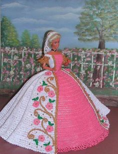 Crochet Fashion Doll Barbie Pattern- #19 DESERT POPPIES