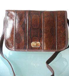 Vintage Koret Snakeskin & Leather Shoulder Bag by TheOldBagOnline on Etsy