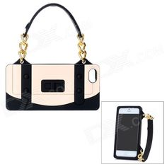 Special Handbag Style Protective Silicone Back Case for iPhone 5 - Black