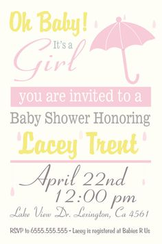 Girl Baby Shower Invitation , $10.00