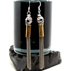 Bullet Shell Casing Chain and Sugar Skull Earrings by Diamonds and Coal…