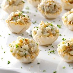 "Apple-Nut Blue Cheese Tartlets Recipe -""These tasty appetizers look and taste gourmet, but they're easy to make and have loads of blue cheese flavor,"" writes Trisha Kruse from Eagle, Idaho. ""The phyllo shells and filling can be made in advance-just fill the cups and warm them in the oven before serving."""