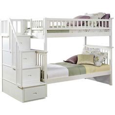 Atlantic Furniture Columbia Twin Over Twin Staircase Bunk Bed (83.950 RUB) ❤ liked on Polyvore featuring home, children's room, children's furniture and white
